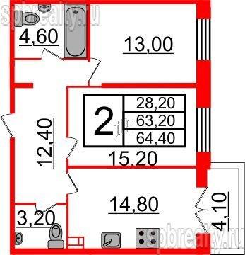 Планировка Двухкомнатная квартира площадью 64.4 кв.м в ЖК «Life-Приморский»