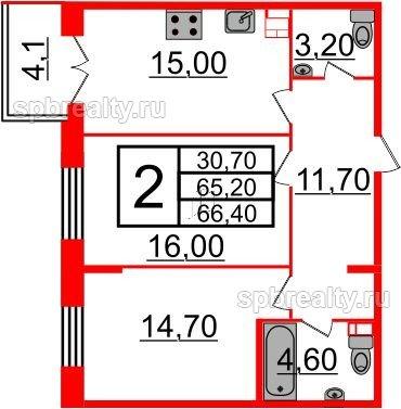 Планировка Двухкомнатная квартира площадью 66.4 кв.м в ЖК «Life-Приморский»