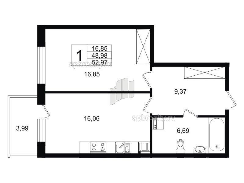 Планировка Однокомнатная квартира площадью 48.65 кв.м в ЖК «Life-Приморский»