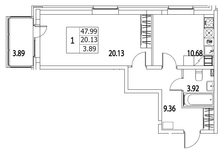 Планировка Однокомнатная квартира площадью 45.26 кв.м в ЖК «Life-Приморский»