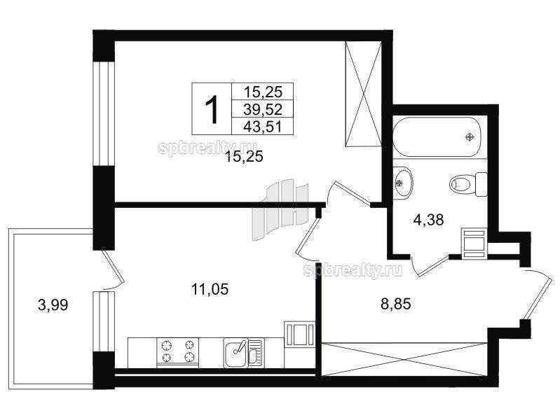 Планировка Однокомнатная квартира площадью 40.72 кв.м в ЖК «Life-Приморский»