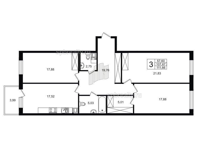 Планировка Трёхкомнатная квартира площадью 108.61 кв.м в ЖК «Life-Приморский»