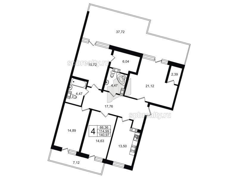 Планировка Четырёхкомнатная квартира площадью 140.95 кв.м в ЖК «Life-Приморский»