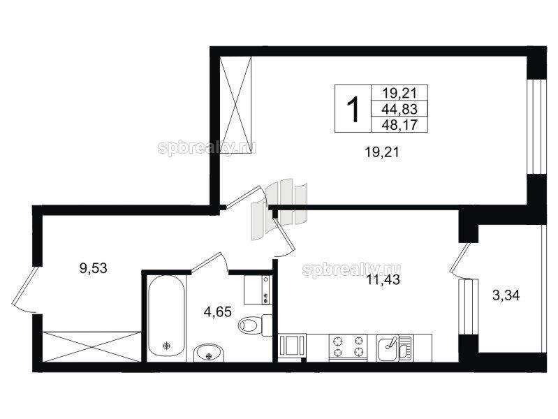 Планировка Однокомнатная квартира площадью 46.49 кв.м в ЖК «Life-Приморский»
