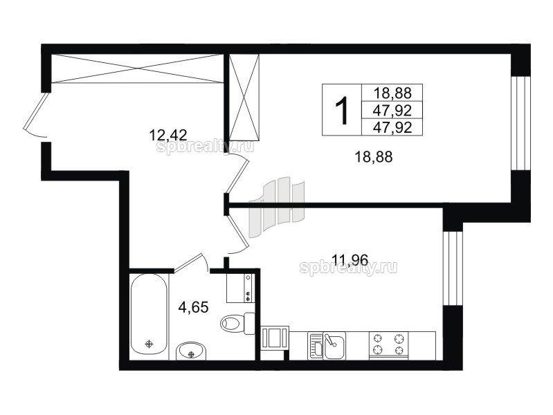 Планировка Однокомнатная квартира площадью 47.36 кв.м в ЖК «Life-Приморский»
