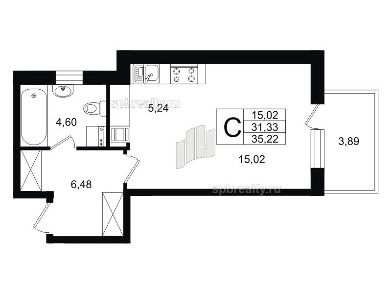 Планировка Однокомнатная квартира площадью 32.51 кв.м в ЖК «Life-Приморский»