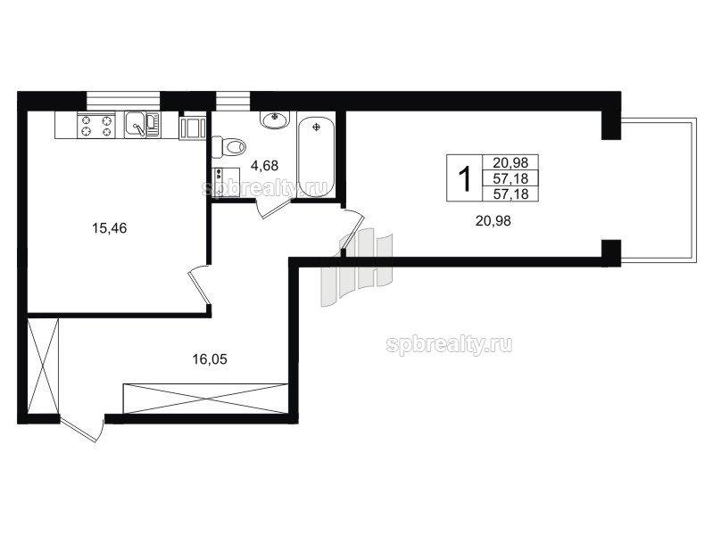Планировка Однокомнатная квартира площадью 57.26 кв.м в ЖК «Life-Приморский»