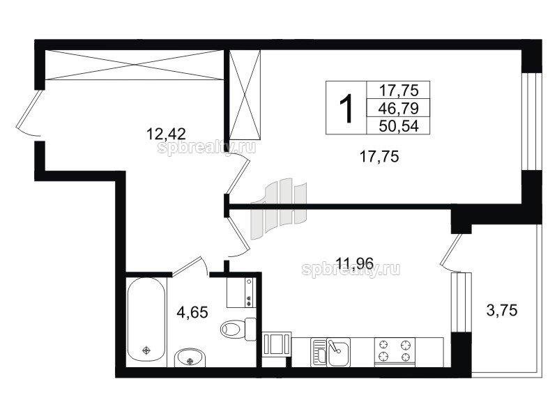 Планировка Однокомнатная квартира площадью 47.9 кв.м в ЖК «Life-Приморский»
