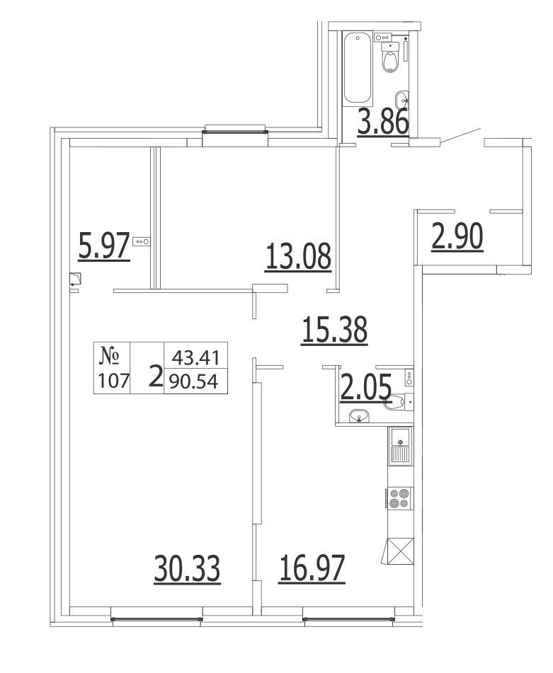 Планировка Двухкомнатная квартира площадью 90.9 кв.м в ЖК «Life-Приморский»