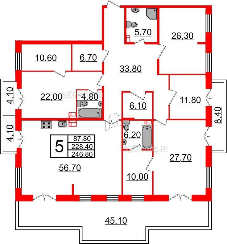 Планировка Четырёхкомнатная квартира площадью 246.8 кв.м в ЖК «Life-Приморский»