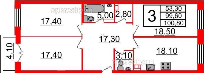 Планировка Трёхкомнатная квартира площадью 100.8 кв.м в ЖК «Life-Приморский»