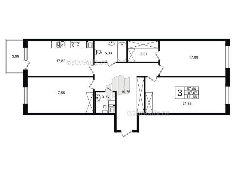 Планировка Трёхкомнатная квартира площадью 108.82 кв.м в ЖК «Life-Приморский»