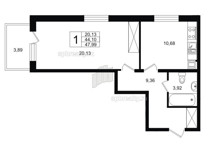 Планировка Однокомнатная квартира площадью 45.31 кв.м в ЖК «Life-Приморский»