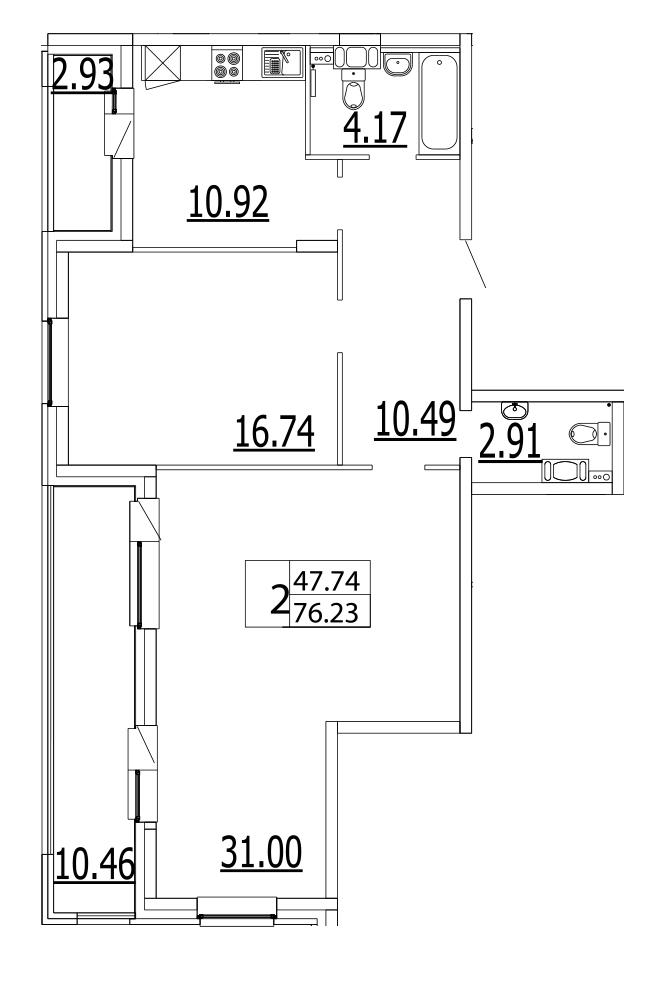 Планировка Двухкомнатная квартира площадью 89.8 кв.м в ЖК «Life-Приморский»