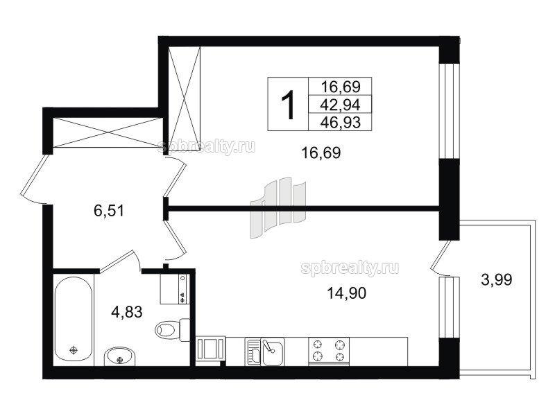 Планировка Однокомнатная квартира площадью 44.14 кв.м в ЖК «Life-Приморский»