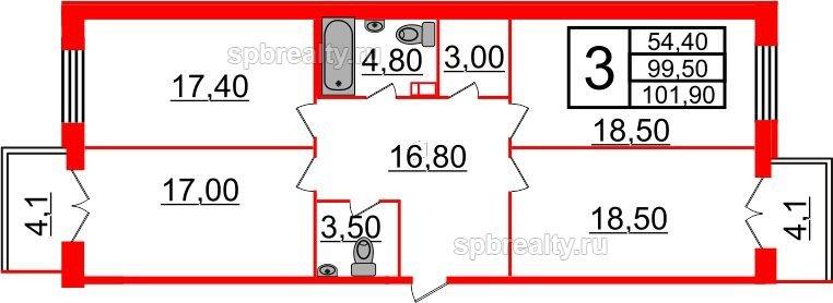 Планировка Трёхкомнатная квартира площадью 101.9 кв.м в ЖК «Life-Приморский»