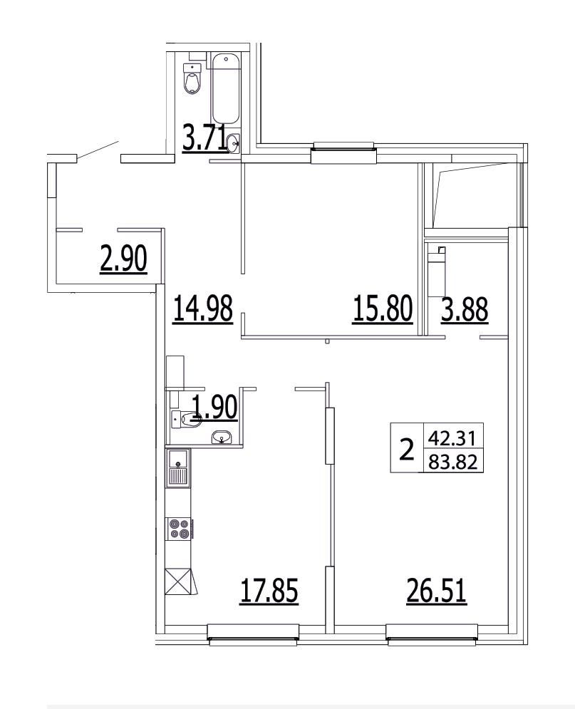 Планировка Двухкомнатная квартира площадью 88.3 кв.м в ЖК «Life-Приморский»