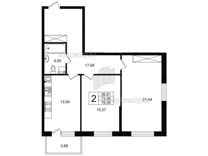 Планировка Двухкомнатная квартира площадью 72.41 кв.м в ЖК «Life-Приморский»
