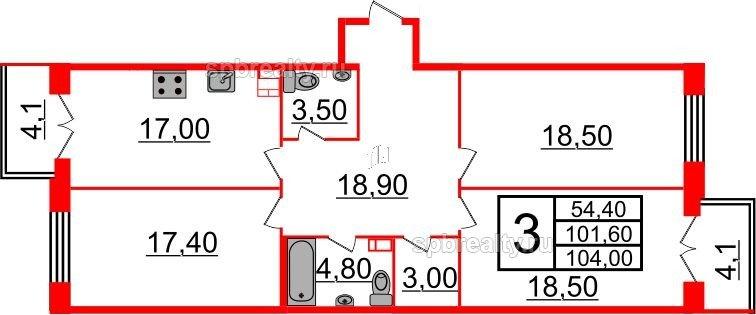 Планировка Трёхкомнатная квартира площадью 104 кв.м в ЖК «Life-Приморский»